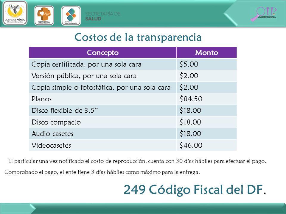 Costos de la transparencia ConceptoMonto Copia certificada, por una sola cara$5.00 Versión pública, por una sola cara$2.00 Copia simple o fotostática,