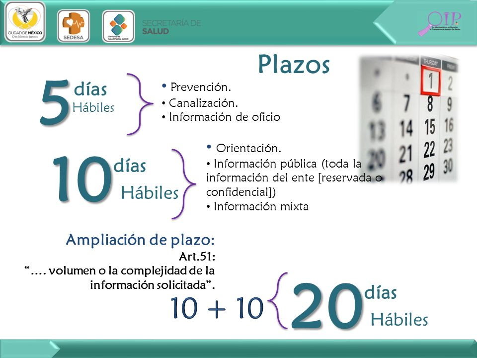 Plazos 5 5 días Prevención. Canalización. Información de oficio 10 10 días Orientación. Información pública (toda la información del ente [reservada o