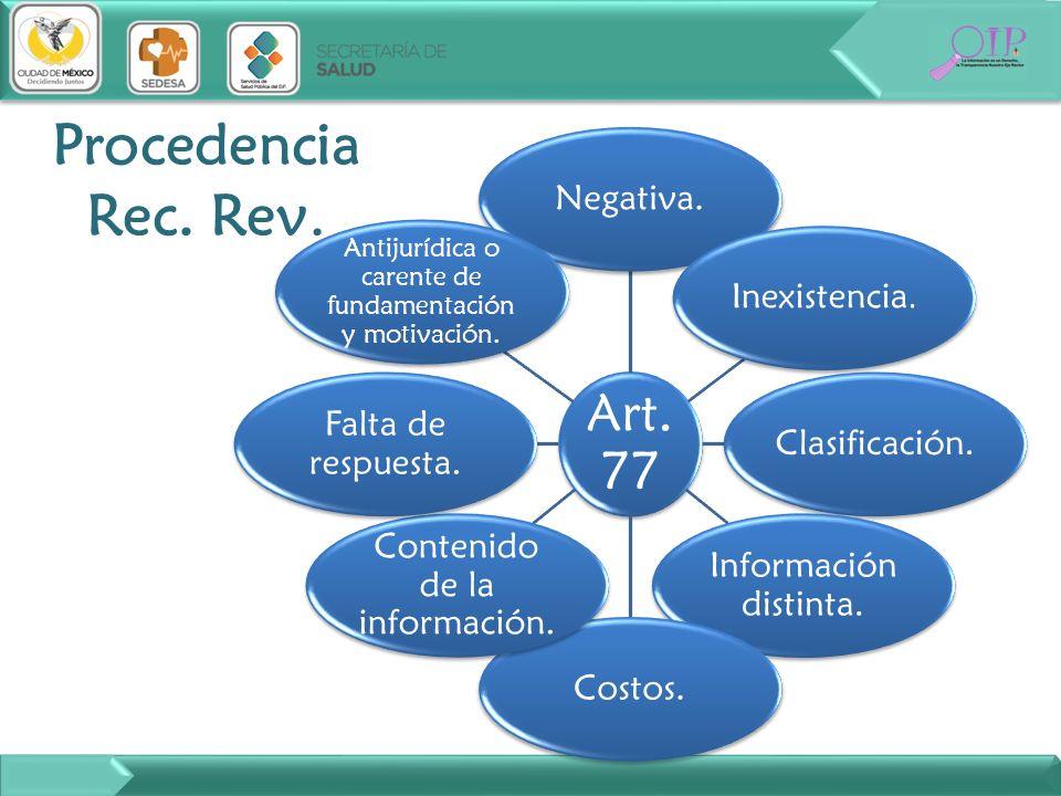 Art. 77 Negativa. Inexistencia. Clasificación. Información distinta. Costos. Contenido de la información. Falta de respuesta. Antijurídica o carente d