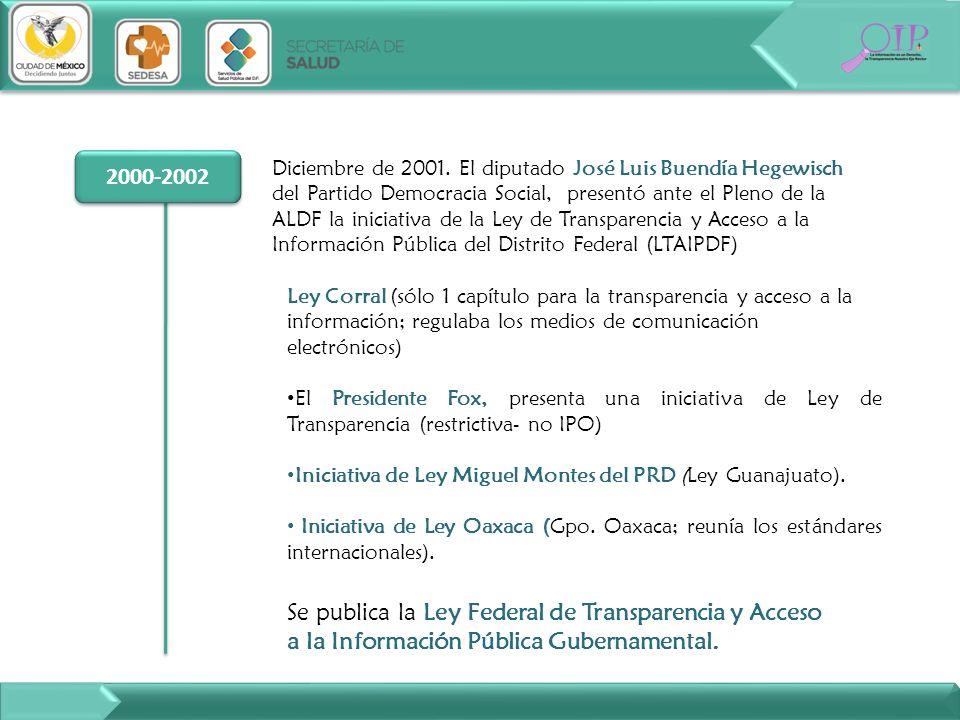 2000-2002 Diciembre de 2001. El diputado José Luis Buendía Hegewisch del Partido Democracia Social, presentó ante el Pleno de la ALDF la iniciativa de