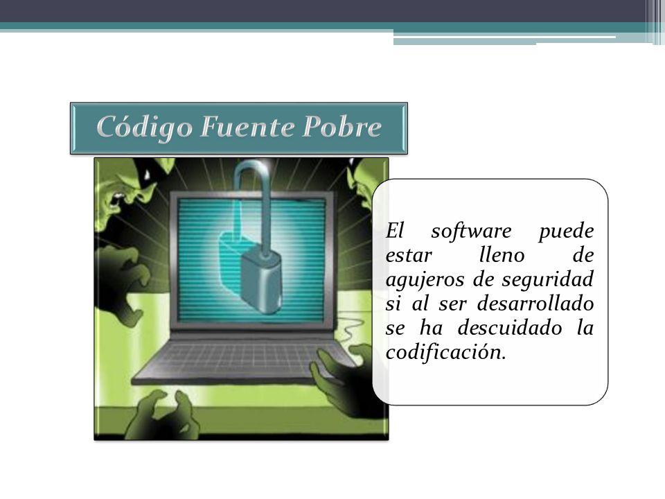 El software puede estar lleno de agujeros de seguridad si al ser desarrollado se ha descuidado la codificación.