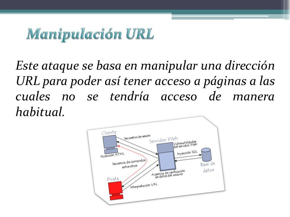 Este ataque se basa en manipular una dirección URL para poder así tener acceso a páginas a las cuales no se tendría acceso de manera habitual.