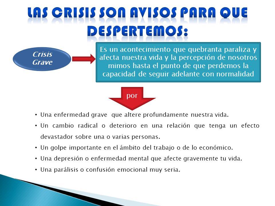 Crisis Grave Es un acontecimiento que quebranta paraliza y afecta nuestra vida y la percepción de nosotros mimos hasta el punto de que perdemos la cap