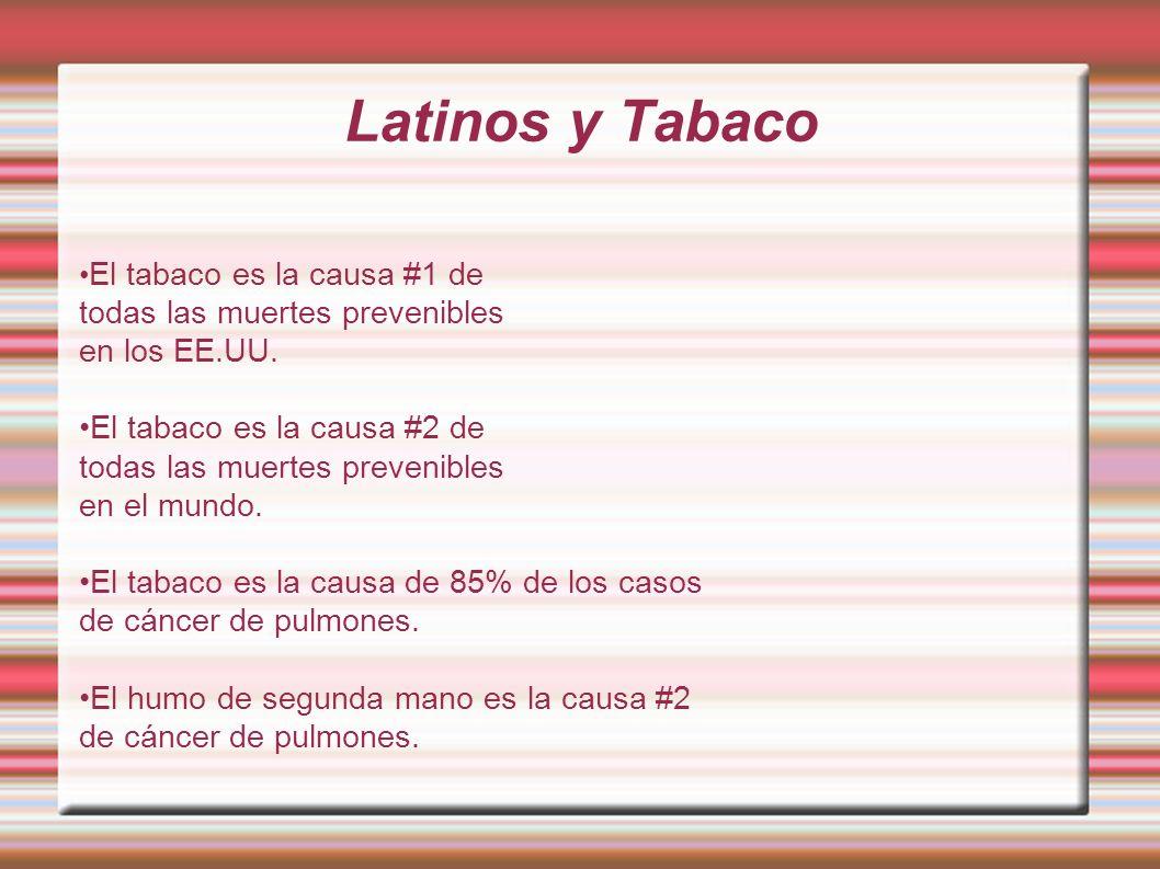 Latinos y Tabaco El tabaco es la causa #1 de todas las muertes prevenibles en los EE.UU. El tabaco es la causa #2 de todas las muertes prevenibles en