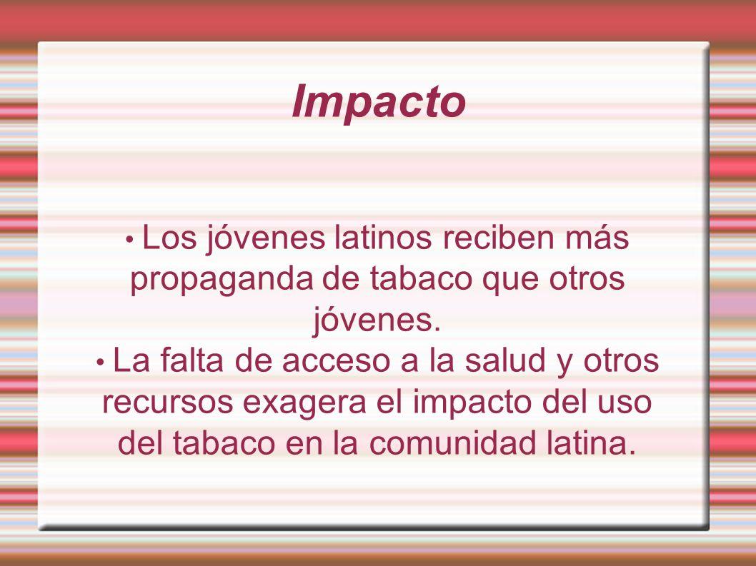Impacto Los jóvenes latinos reciben más propaganda de tabaco que otros jóvenes. La falta de acceso a la salud y otros recursos exagera el impacto del