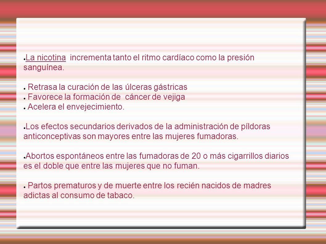 La nicotina incrementa tanto el ritmo cardíaco como la presión sanguínea. Retrasa la curación de las úlceras gástricas Favorece la formación de cáncer