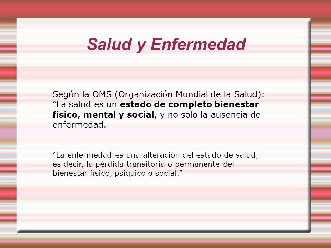 Salud y Enfermedad Según la OMS (Organización Mundial de la Salud): La salud es un estado de completo bienestar físico, mental y social, y no sólo la