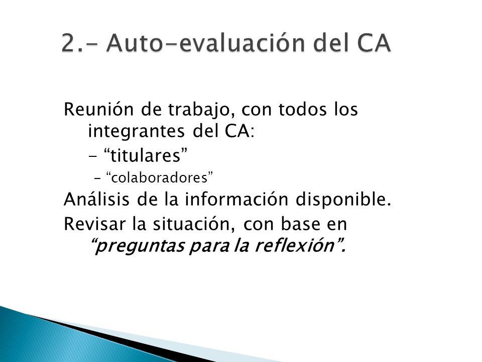 Reunión de trabajo, con todos los integrantes del CA: - titulares - colaboradores Análisis de la información disponible.