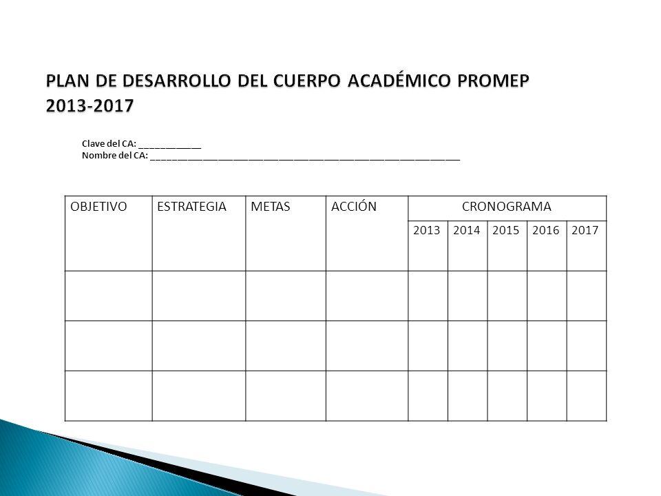 OBJETIVOESTRATEGIAMETASACCIÓNCRONOGRAMA 20132014201520162017 Clave del CA: ____________ Nombre del CA: _____________________________________________________________
