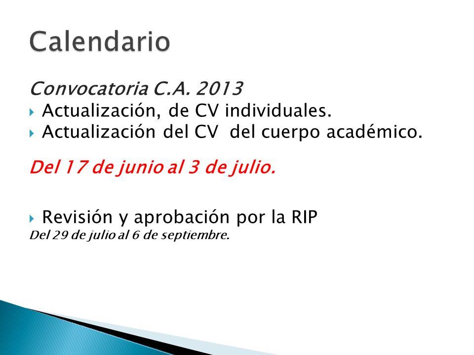 Convocatoria C.A. 2013 Actualización, de CV individuales. Actualización del CV del cuerpo académico. Del 17 de junio al 3 de julio. Revisión y aprobac