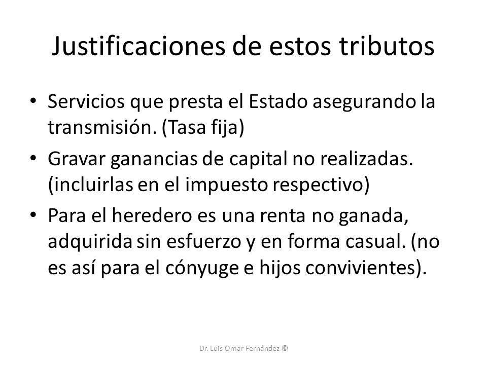 Justificaciones de estos tributos Servicios que presta el Estado asegurando la transmisión.