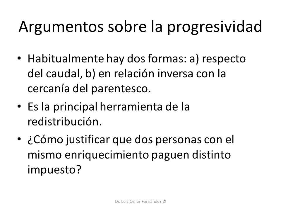 Argumentos sobre la progresividad Habitualmente hay dos formas: a) respecto del caudal, b) en relación inversa con la cercanía del parentesco.