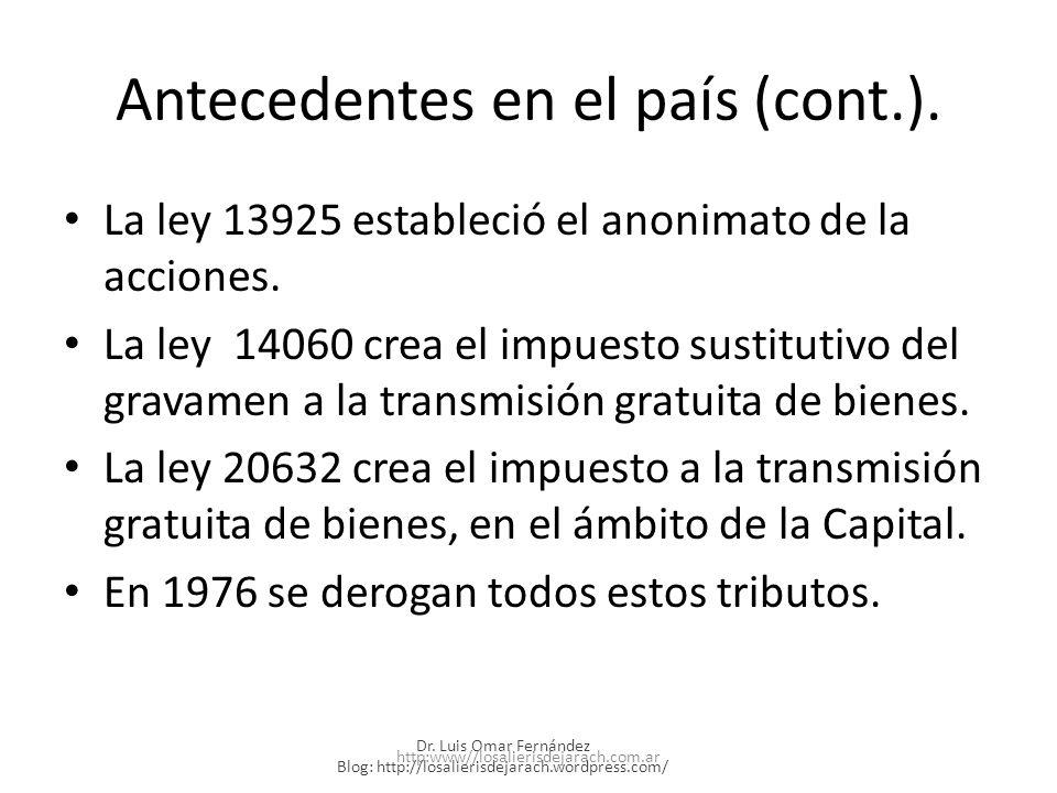 Antecedentes en el país (cont.).La ley 13925 estableció el anonimato de la acciones.