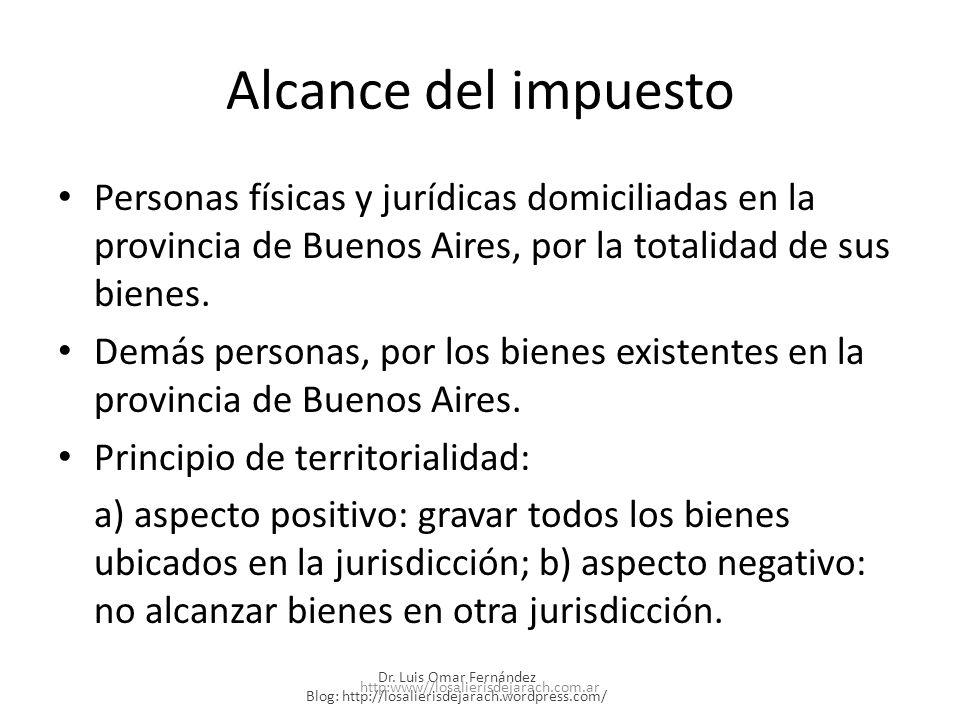 Alcance del impuesto Personas físicas y jurídicas domiciliadas en la provincia de Buenos Aires, por la totalidad de sus bienes.