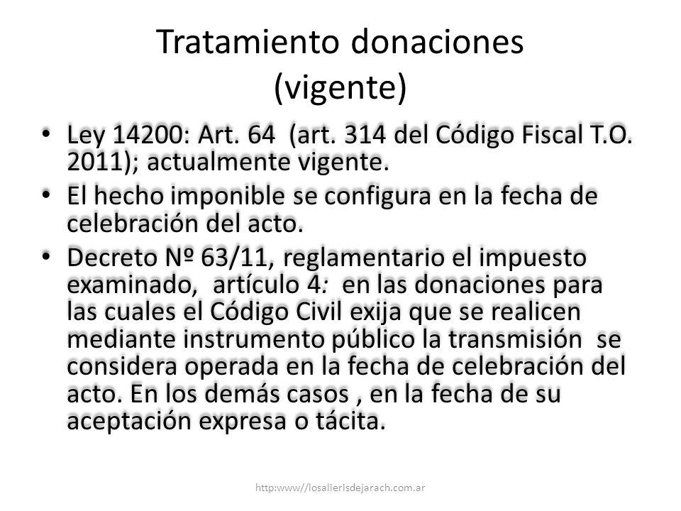 Tratamiento donaciones (vigente) Ley 14200: Art.64 (art.