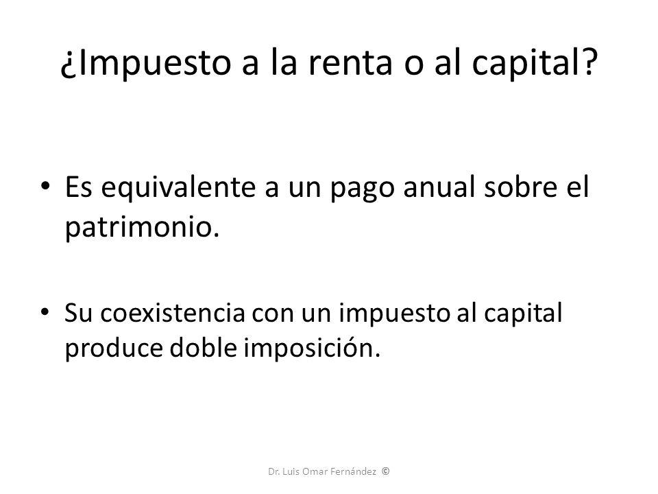 ¿Impuesto a la renta o al capital.Es equivalente a un pago anual sobre el patrimonio.