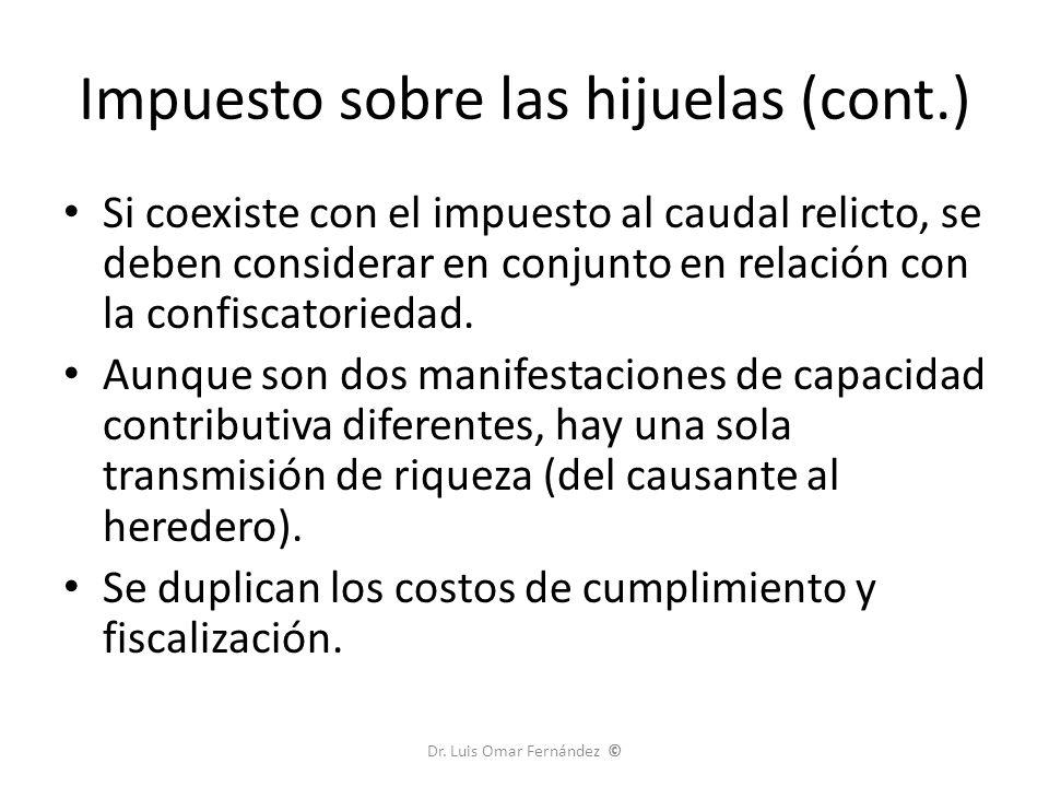 Impuesto sobre las hijuelas (cont.) Si coexiste con el impuesto al caudal relicto, se deben considerar en conjunto en relación con la confiscatoriedad.
