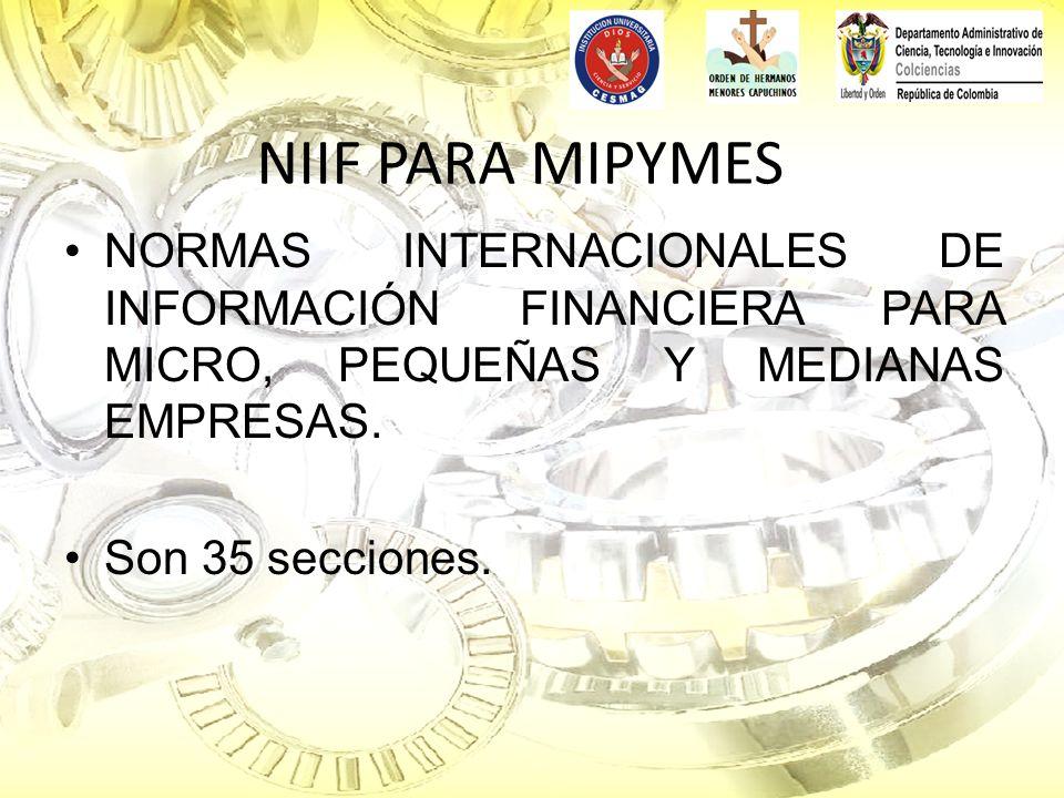 NIIF PARA MIPYMES NORMAS INTERNACIONALES DE INFORMACIÓN FINANCIERA PARA MICRO, PEQUEÑAS Y MEDIANAS EMPRESAS. Son 35 secciones.