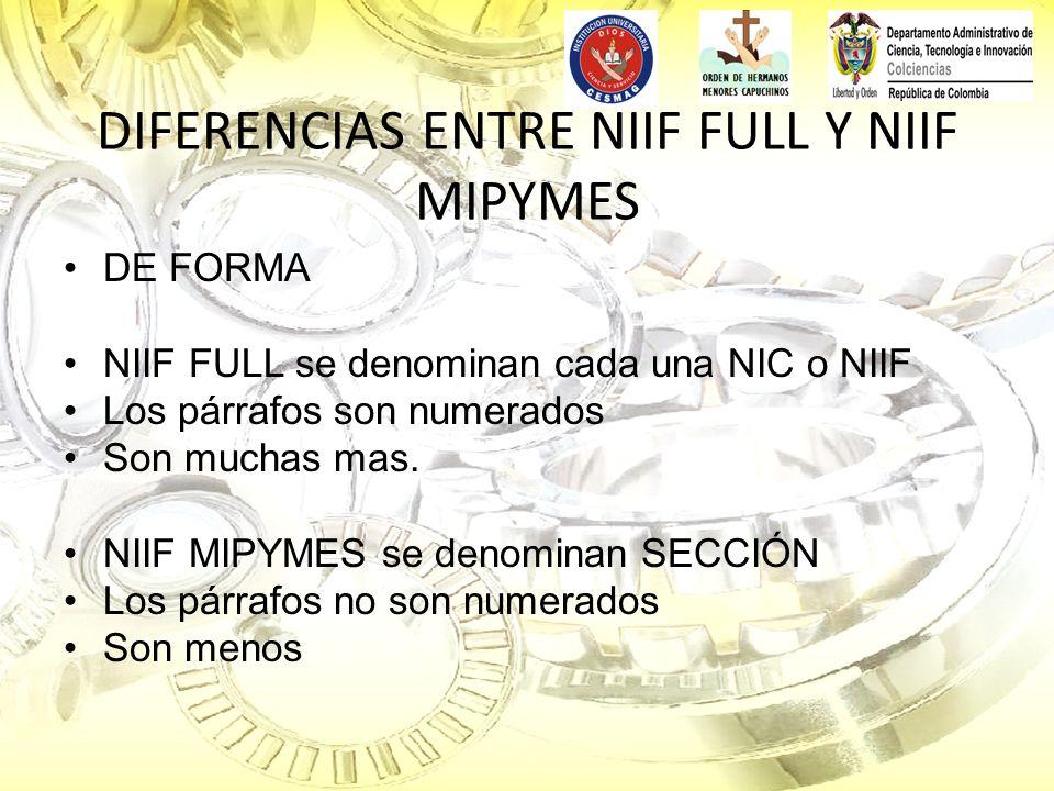 DIFERENCIAS ENTRE NIIF FULL Y NIIF MIPYMES DE FORMA NIIF FULL se denominan cada una NIC o NIIF Los párrafos son numerados Son muchas mas. NIIF MIPYMES
