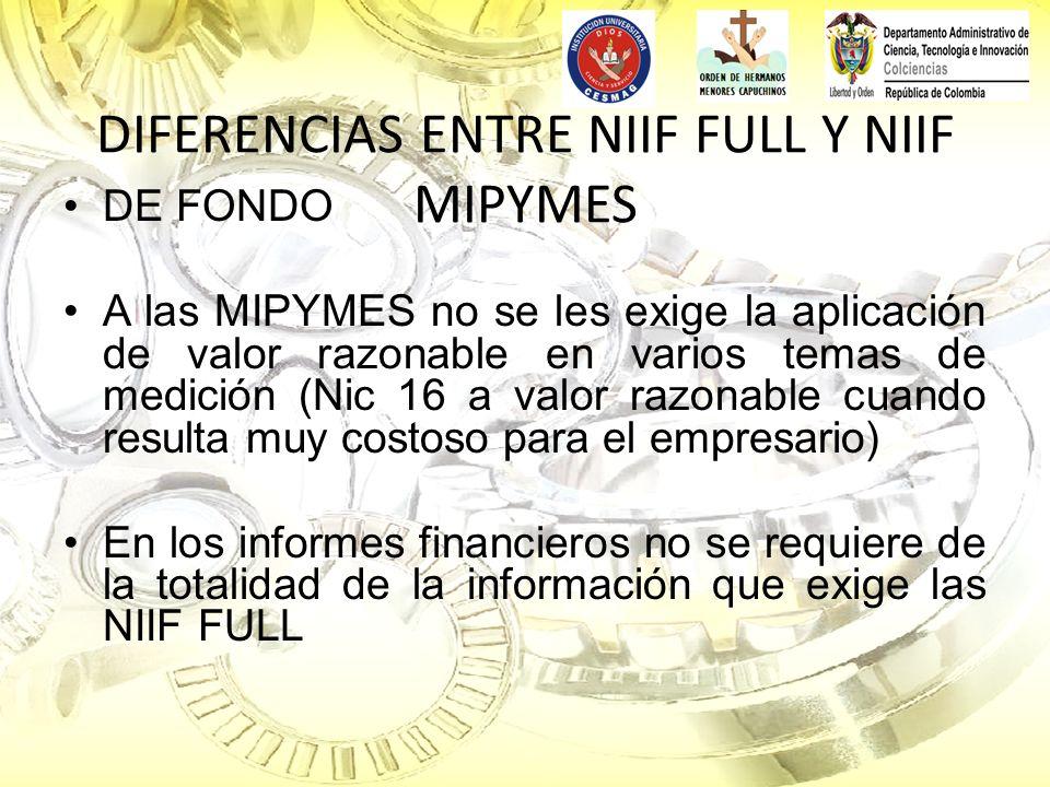 DIFERENCIAS ENTRE NIIF FULL Y NIIF MIPYMES DE FONDO A las MIPYMES no se les exige la aplicación de valor razonable en varios temas de medición (Nic 16