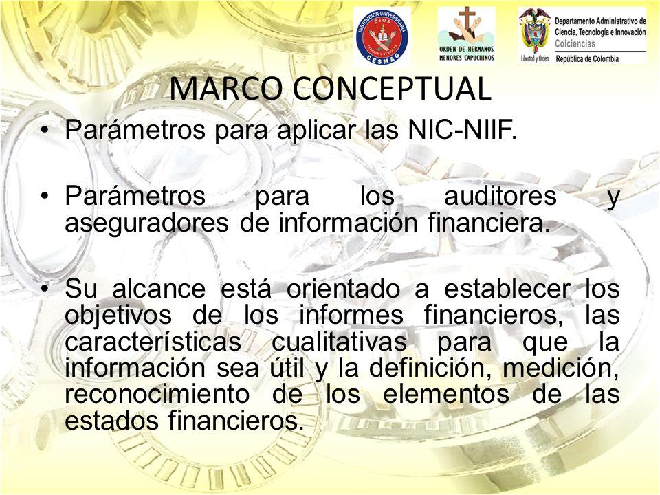 MARCO CONCEPTUAL Parámetros para aplicar las NIC-NIIF. Parámetros para los auditores y aseguradores de información financiera. Su alcance está orienta