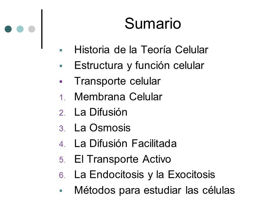 Sumario Historia de la Teoría Celular Estructura y función celular Transporte celular 1. Membrana Celular 2. La Difusión 3. La Osmosis 4. La Difusión