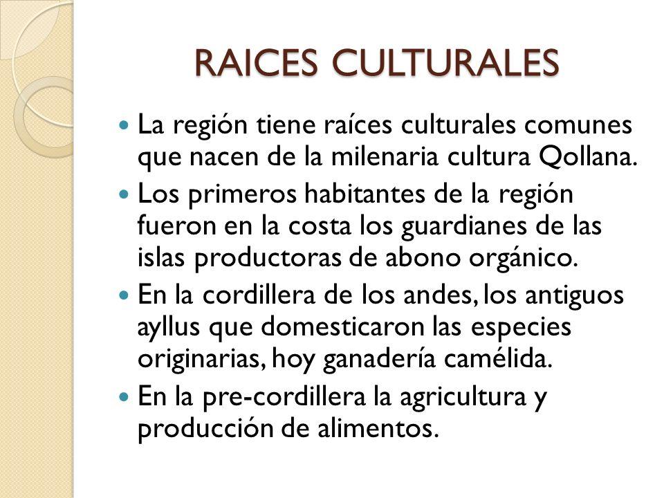 RAICES CULTURALES La región tiene raíces culturales comunes que nacen de la milenaria cultura Qollana. Los primeros habitantes de la región fueron en