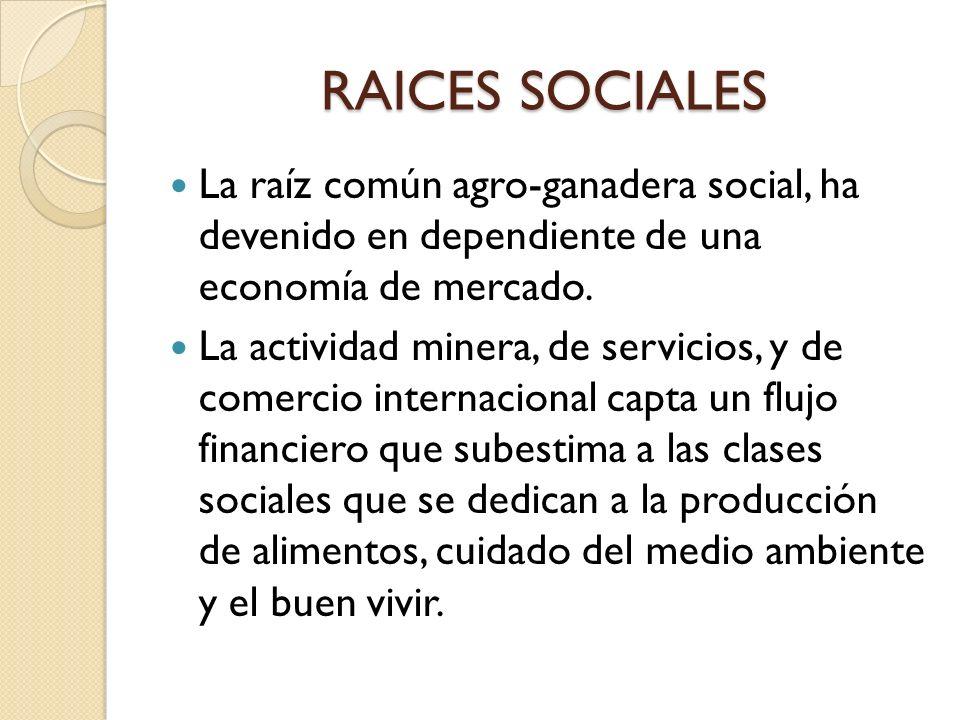 RAICES SOCIALES La raíz común agro-ganadera social, ha devenido en dependiente de una economía de mercado. La actividad minera, de servicios, y de com