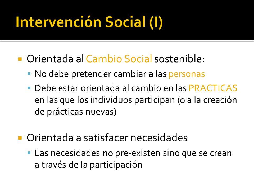 Orientada al Cambio Social sostenible: No debe pretender cambiar a las personas Debe estar orientada al cambio en las PRACTICAS en las que los individ