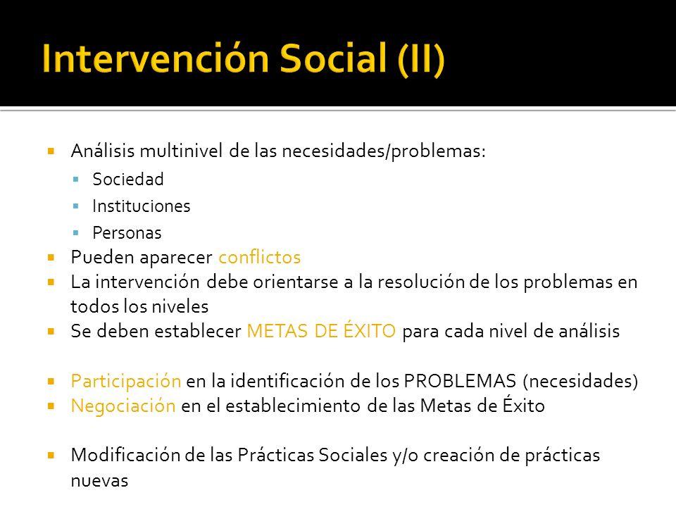 Análisis multinivel de las necesidades/problemas: Sociedad Instituciones Personas Pueden aparecer conflictos La intervención debe orientarse a la reso