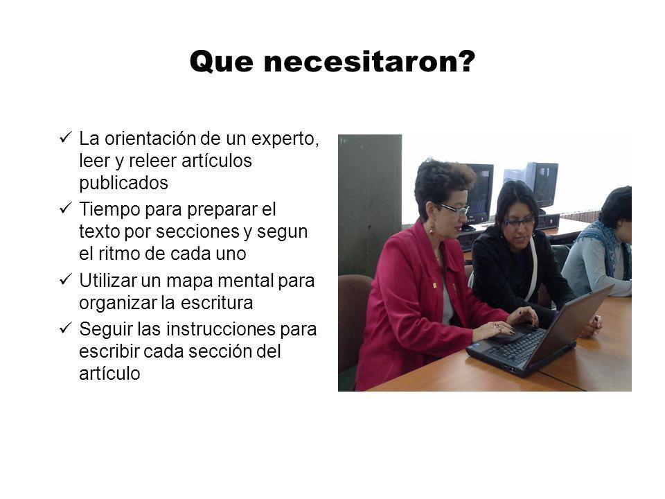Que necesitaron? La orientación de un experto, leer y releer artículos publicados Tiempo para preparar el texto por secciones y segun el ritmo de cada