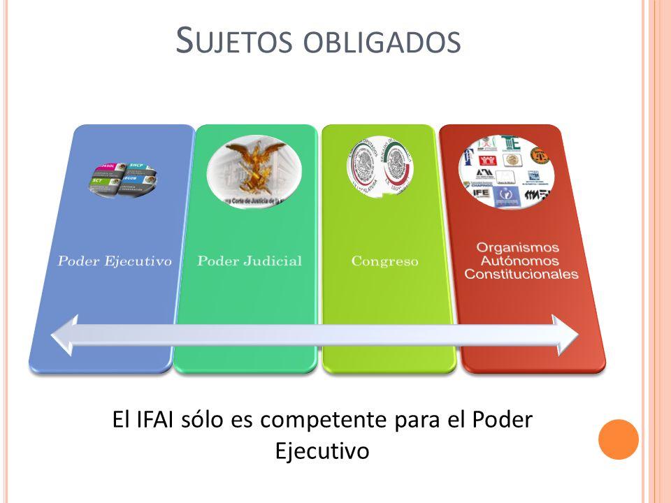 S UJETOS OBLIGADOS El IFAI sólo es competente para el Poder Ejecutivo