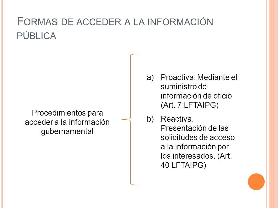 F ORMAS DE ACCEDER A LA INFORMACIÓN PÚBLICA a)Proactiva.