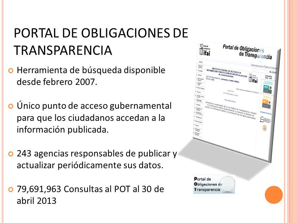 PORTAL DE OBLIGACIONES DE TRANSPARENCIA Herramienta de búsqueda disponible desde febrero 2007.