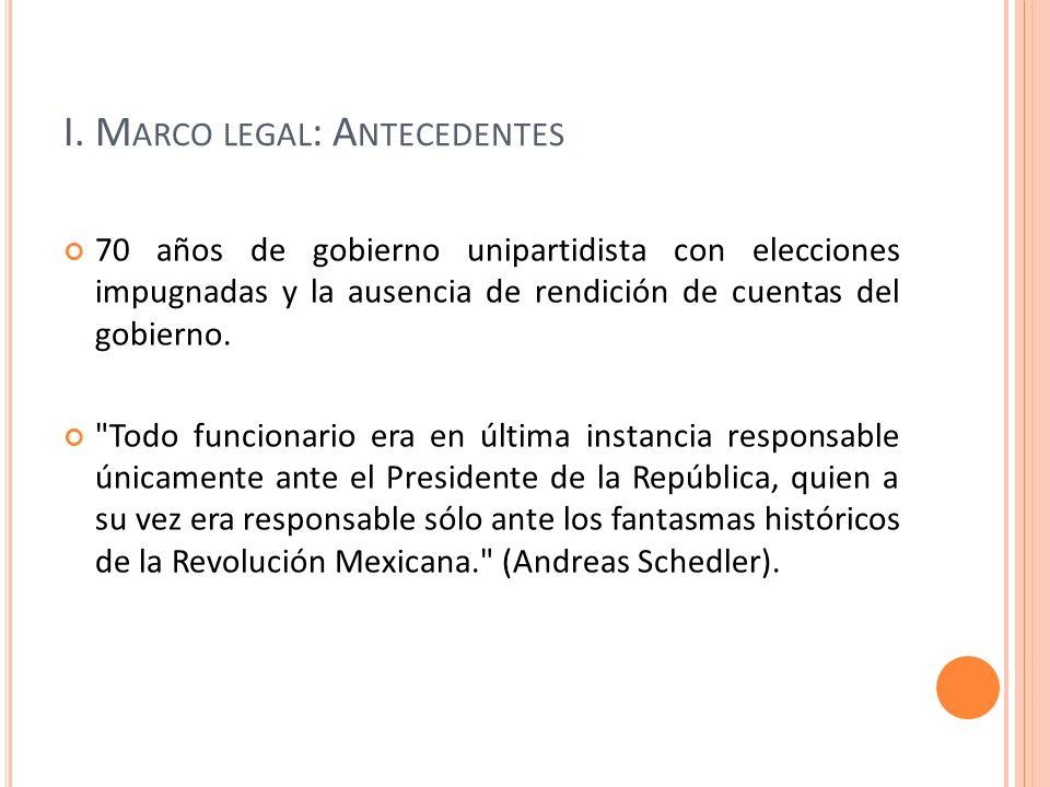 I. M ARCO LEGAL : A NTECEDENTES 70 años de gobierno unipartidista con elecciones impugnadas y la ausencia de rendición de cuentas del gobierno.