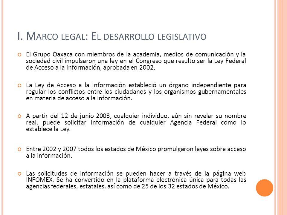 I. M ARCO LEGAL : E L DESARROLLO LEGISLATIVO El Grupo Oaxaca con miembros de la academia, medios de comunicación y la sociedad civil impulsaron una le