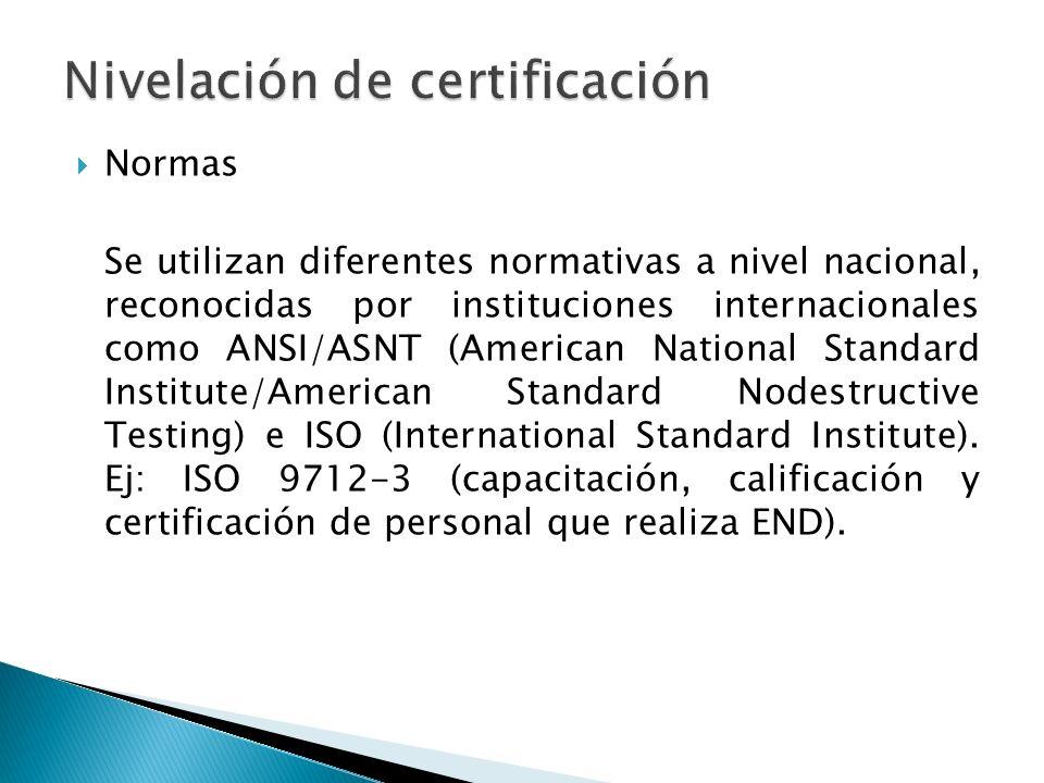 Normas Se utilizan diferentes normativas a nivel nacional, reconocidas por instituciones internacionales como ANSI/ASNT (American National Standard In