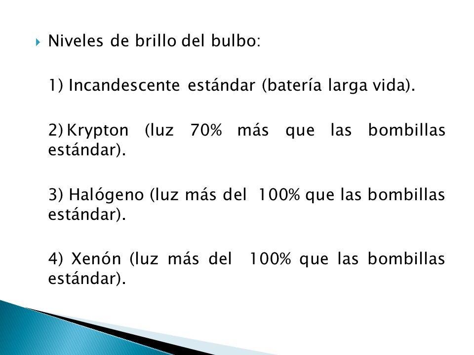 Niveles de brillo del bulbo: 1) Incandescente estándar (batería larga vida). 2)Krypton (luz 70% más que las bombillas estándar). 3) Halógeno (luz más