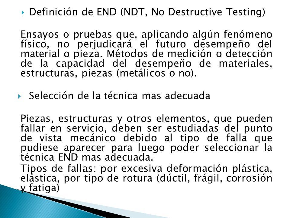 Definición de END (NDT, No Destructive Testing) Ensayos o pruebas que, aplicando algún fenómeno físico, no perjudicará el futuro desempeño del materia