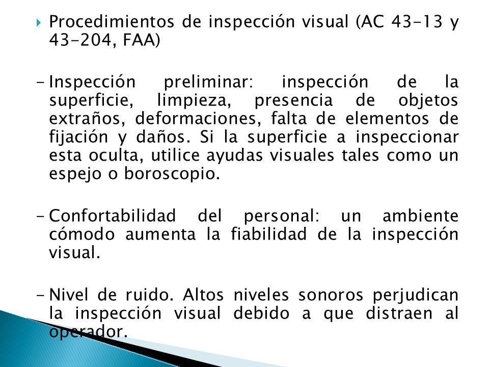 Procedimientos de inspección visual (AC 43-13 y 43-204, FAA) -Inspección preliminar: inspección de la superficie, limpieza, presencia de objetos extra