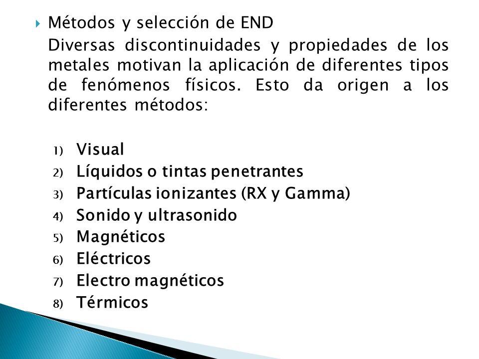 Métodos y selección de END Diversas discontinuidades y propiedades de los metales motivan la aplicación de diferentes tipos de fenómenos físicos. Esto