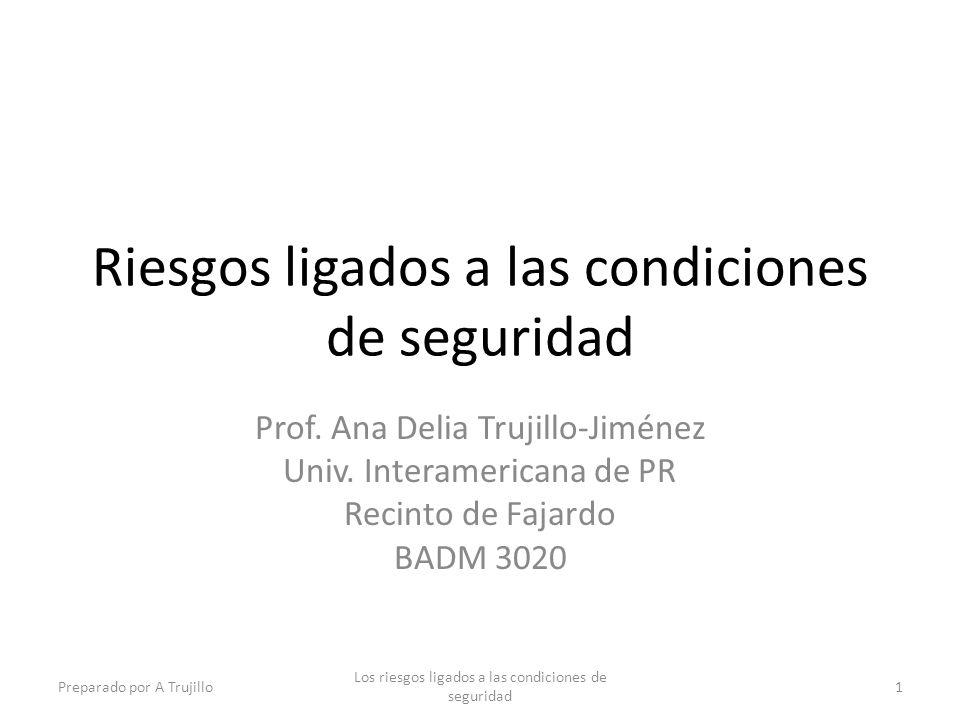 Riesgos ligados a las condiciones de seguridad Prof. Ana Delia Trujillo-Jiménez Univ. Interamericana de PR Recinto de Fajardo BADM 3020 Preparado por