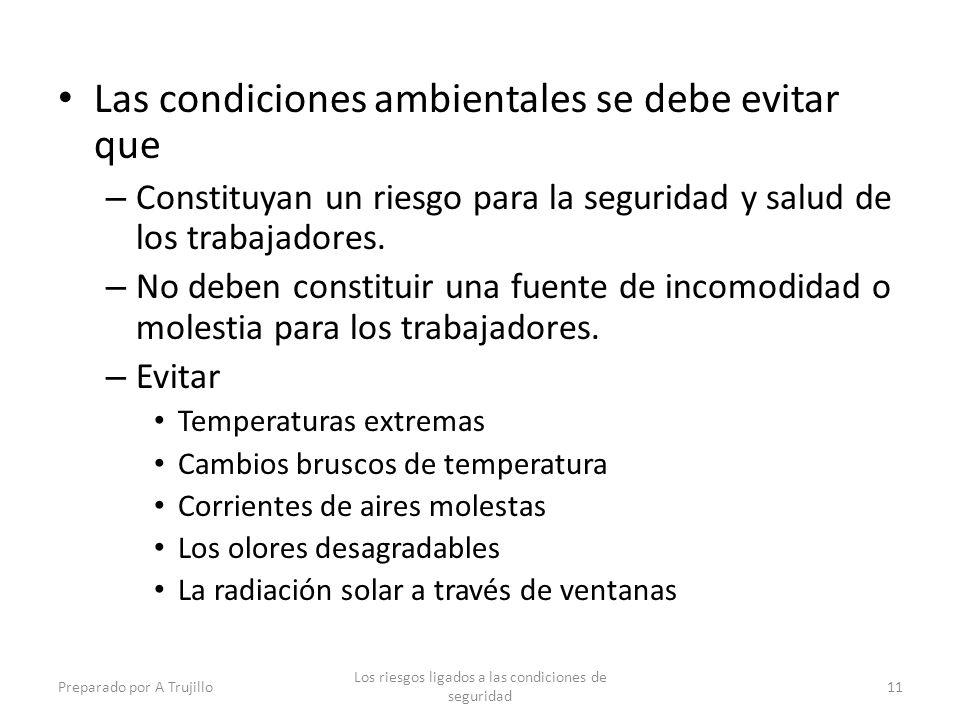 Las condiciones ambientales se debe evitar que – Constituyan un riesgo para la seguridad y salud de los trabajadores.