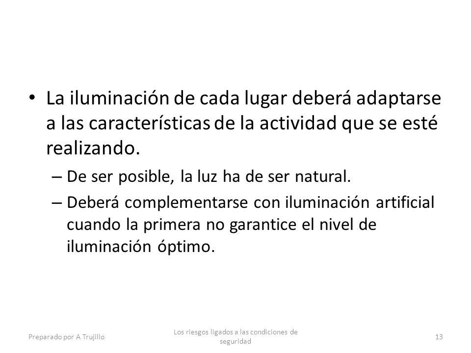 La iluminación de cada lugar deberá adaptarse a las características de la actividad que se esté realizando.