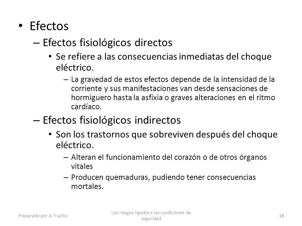 Efectos – Efectos fisiológicos directos Se refiere a las consecuencias inmediatas del choque eléctrico.