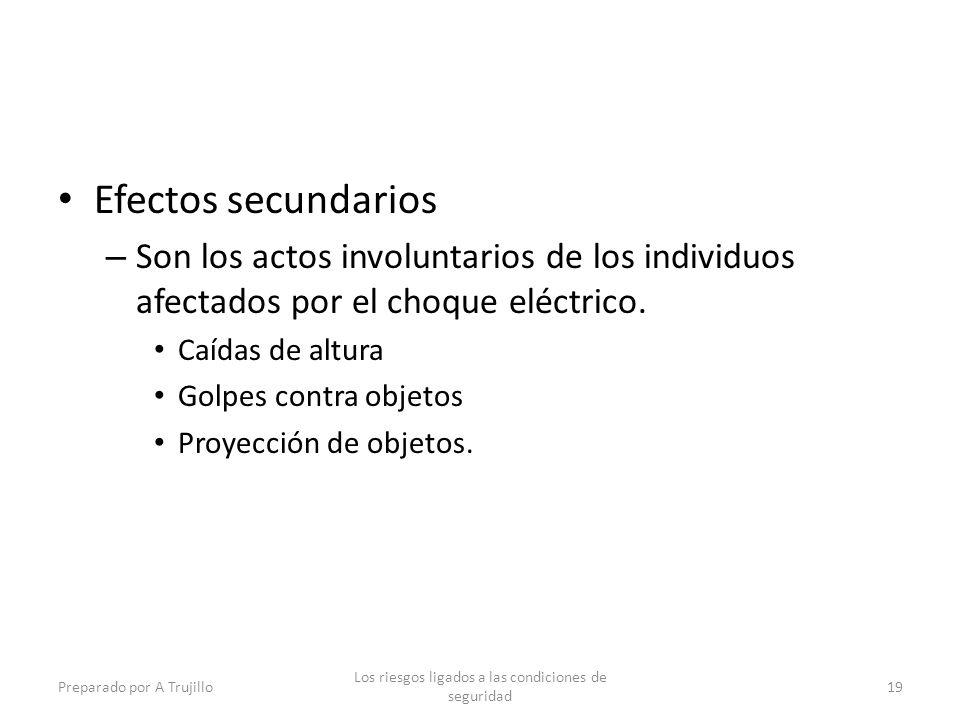 Efectos secundarios – Son los actos involuntarios de los individuos afectados por el choque eléctrico. Caídas de altura Golpes contra objetos Proyecci