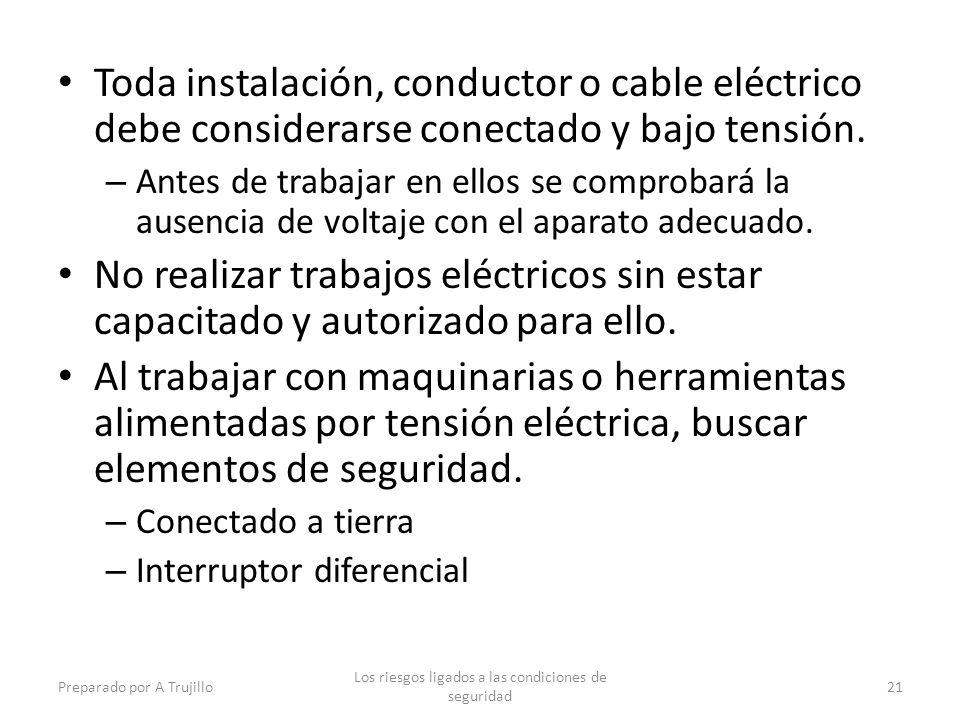 Toda instalación, conductor o cable eléctrico debe considerarse conectado y bajo tensión.
