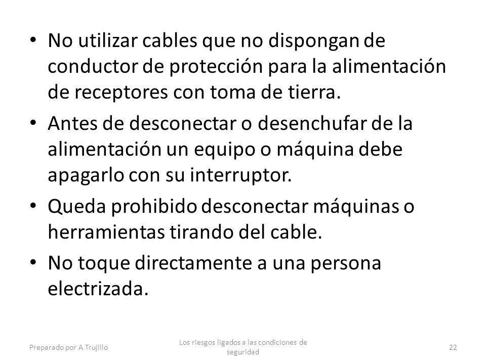 No utilizar cables que no dispongan de conductor de protección para la alimentación de receptores con toma de tierra.