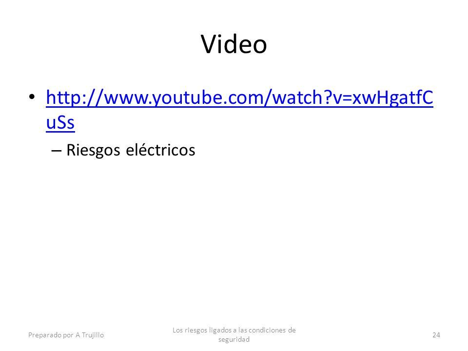 Video http://www.youtube.com/watch?v=xwHgatfC uSs http://www.youtube.com/watch?v=xwHgatfC uSs – Riesgos eléctricos Preparado por A Trujillo Los riesgos ligados a las condiciones de seguridad 24