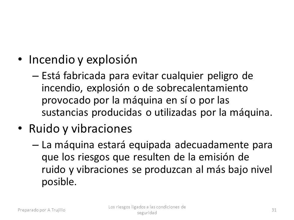 Incendio y explosión – Está fabricada para evitar cualquier peligro de incendio, explosión o de sobrecalentamiento provocado por la máquina en sí o por las sustancias producidas o utilizadas por la máquina.